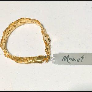 "NWT Vintage Gold-tone Braided Monet 71/2"" Bracelet"